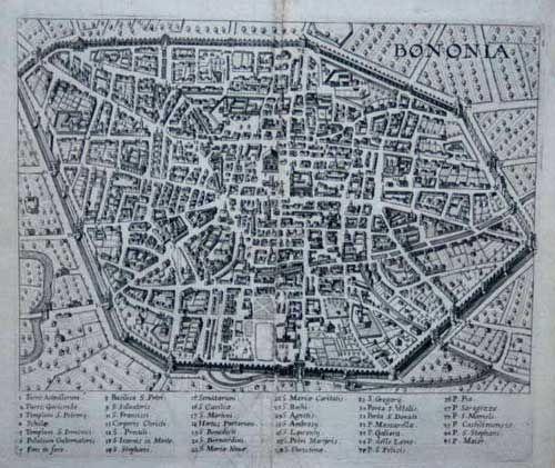 """JOANNES HENRICUS PFLAUMERN (Roma attivo 1600 - 1604)  """"Bononia""""  Dall'opera: Mercurius Italicus Hospiti Fidus per Italiae, Augsburg, 1625"""