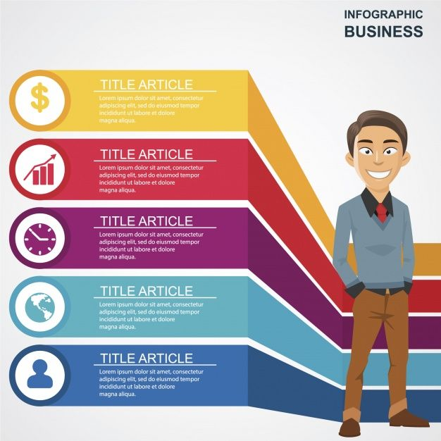 Business infographic with happy man character Free Vector  #Infographic #Business #Template #Man #Infographics #Character #Chart #Marketing #Happy #Graph #Process #Infographic #template #Data #Information #Info #Steps #Business #infographic Graphics #Growth #Development #free #vector #download