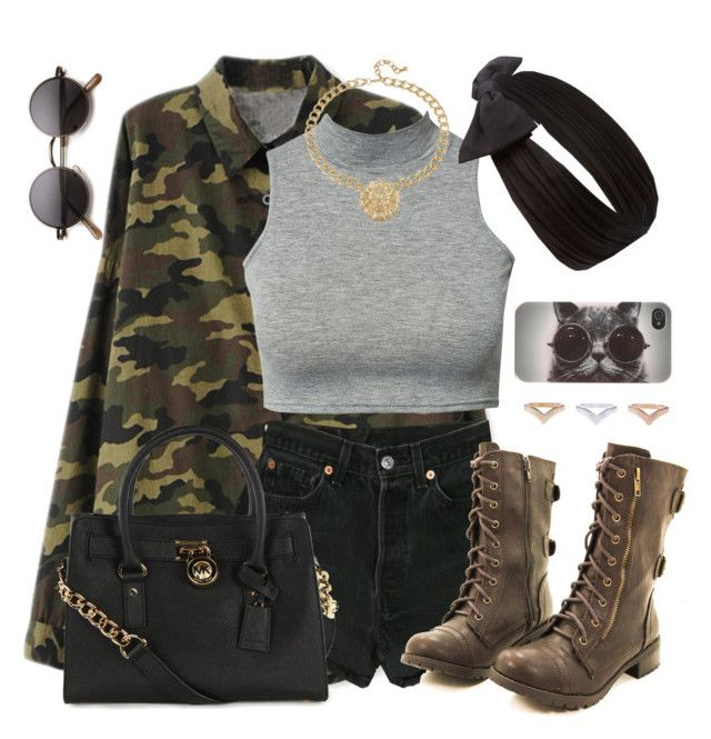 """""""Dope Camo"""" by annellie ❤ liked on Polyvore featuring Levi's, Forever 21, With Love From CA and Michael Kors"""