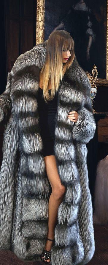 Silver Fox Fur Coat full length coat. ( it looks like Edmond's from Narnia)