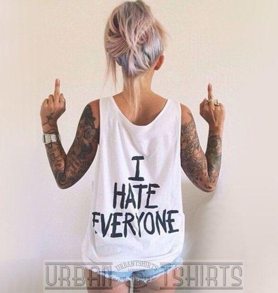 I HATE EVERYONE VEST, Grunge,Punk ,Emo, Unisex  Oversized Tank Top Premium Quality ! by URBANTSHIRTSCOUK on Etsy https://www.etsy.com/listing/230765808/i-hate-everyone-vest-grungepunk-emo
