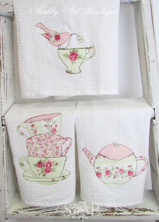 http://www.bkgfactory.com/category/Pots-And-Pans-Set/ Shabby Art Boutique handmad tea towels 3                                                                                                                                                      More