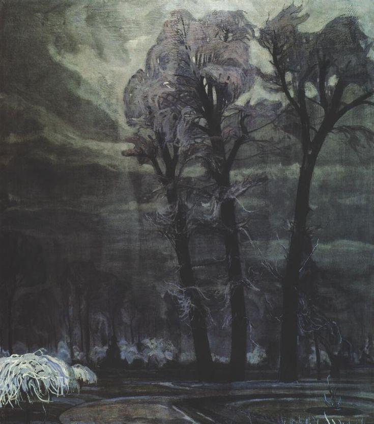 Henryk Szczygliński (Polish, 1881-1944), Lazienki Park at Night, 1918. Oil on canvas, 131 x 114 cm. National Museum, Kielce.