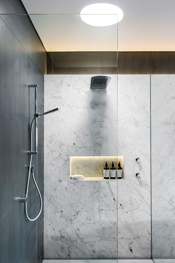 marble and grey shower