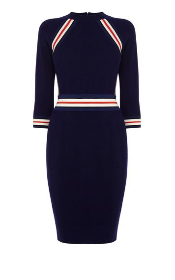 STRIPE STRETCH KNIT DRESS | Luxury Women's knitwear | Karen Millen