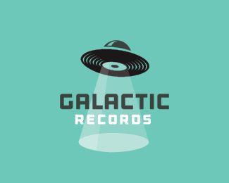 Galactic Records - Logo Design - Logomark, UFO, Vinyl Records, Beam, Space, Green, Black