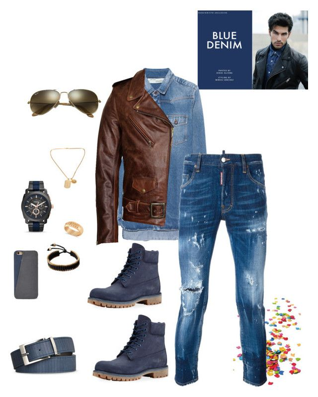 """Untitled #618"" by lianatzelese on Polyvore featuring Timberland, FOSSIL, Vitaly, Ray-Ban, Armani Jeans, Allurez, Off-White, Schott NYC, Dsquared2 and Versace"