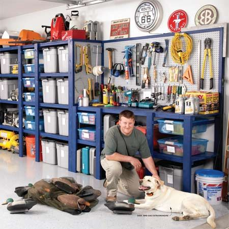 Building a Garage Storage Wall. Simple storage shelves and plastic bins transform this garage—instantly!