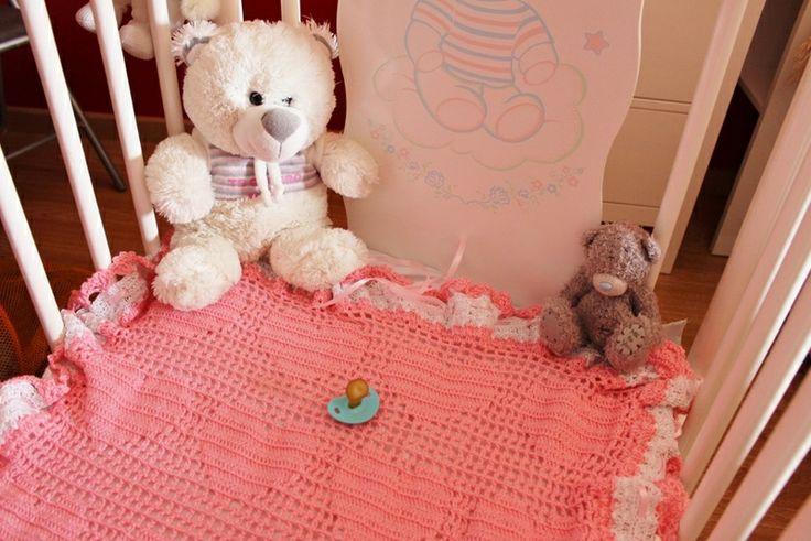 Mantita, arrullo cuna, cuco, moisés corazón rosa 2 de Chibiru's por DaWanda.com