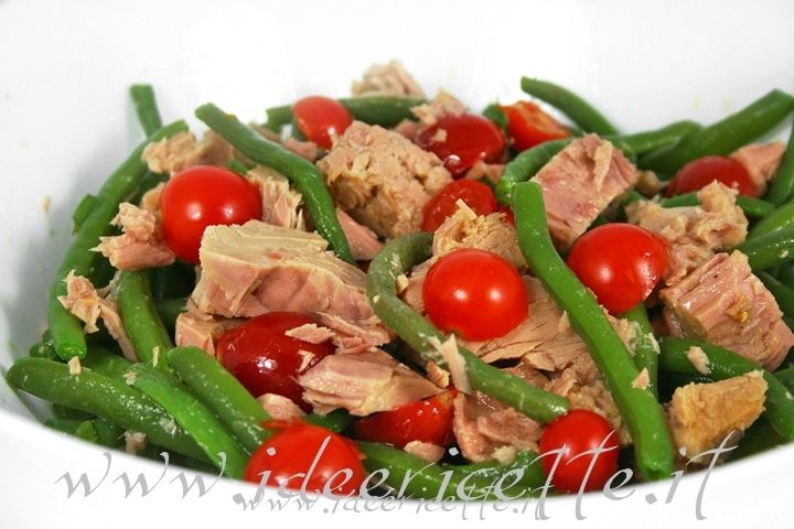 Ricetta Insalata estiva di pomodorini, fagiolini e tonno