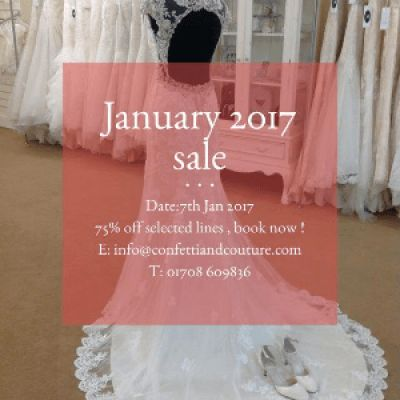 Wedding dress sample sale, dresses from as little as £199, book now.  www.confettiandcouture.com