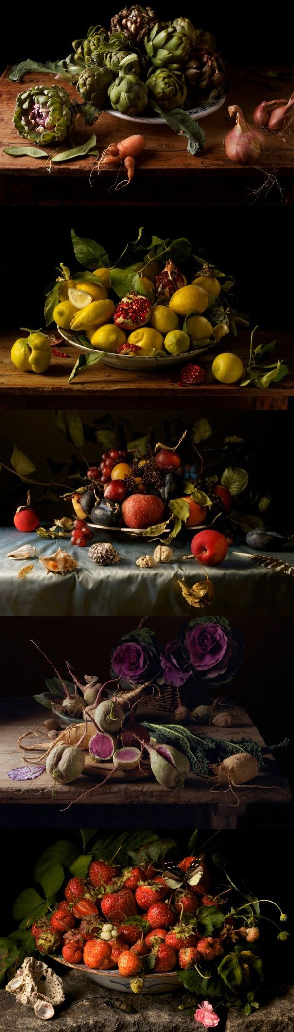 Paulette Tavormina's still life photography. Make these arrangements and reuse the produce.