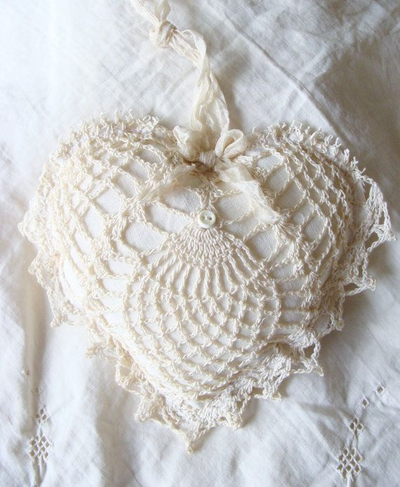 Vintage Linen and Lace Heart Fabric Heart Ornament Stuffed ...