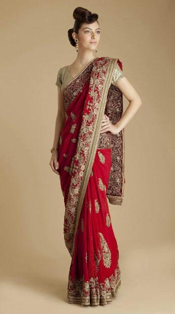Red Georgette Paisley Saree by Varun Bahl $6140.00