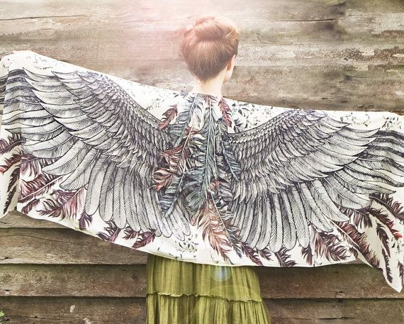 Women scarf, Earthy Wings and feathers in Modal/rayon by Shovava via etsy