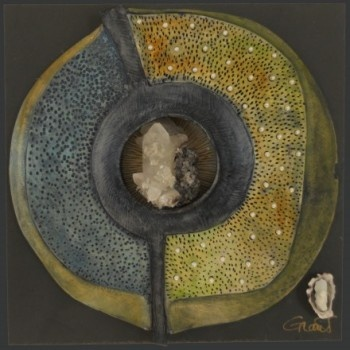 """Windows to Earth 14 ~ by Vicki Grant  porcelain with slate, mixed media, 12""""x12"""""""