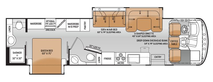 Rv 2 bathroom floor plans class a motorhomes with for 2 bathroom class a rv