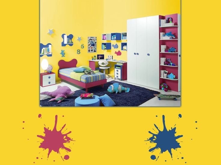 Dipingi  le pareti di un giallo sole, aggiungi arredi color lampone e complementi blu navy: la tavolozza perfetta per la stanza dei  giochi dei tuoi bimbi. Toni caldi e freddi a contrasto, che ne dici?  #yellow #palette #colorfull #bedroom #interiordesign