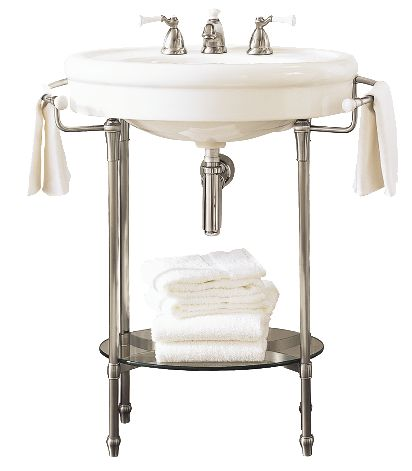 This console table and pedestal sink from the Standard Collection complements bathrooms with traditional décor and includes built-in towel bars and a glass shelf for storage. Found locally at Pacific Plumbing Supply Co. or visit americanstandard-us.com.