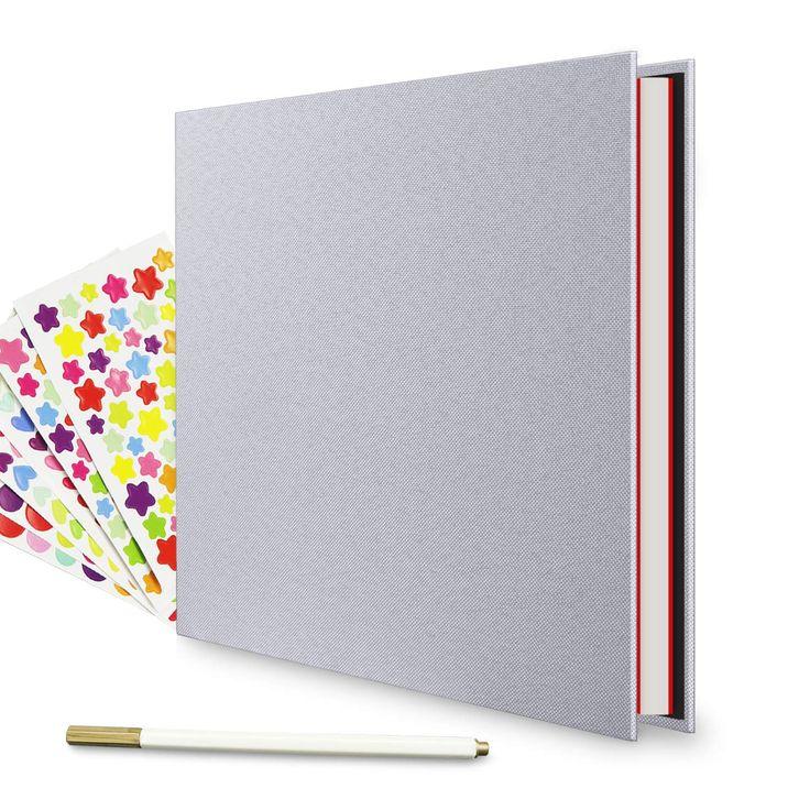 EKKONG Photo Album Scrapbook 60 Pages DIY Leather Photo Album11 x 8.3 inch Vintage Black Pages Memory Book,Wedding Photo Album,Anniversary Scrapbook,Travel Album