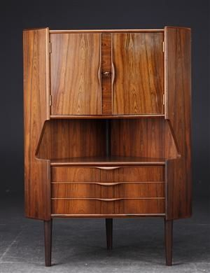 Absolutely Stunning Mid Century Corner Cabinet. Brasilian Rosewood. Made In  Denmark.Key Included. Very Good Condition With Only Minor Signs Of Wearu2026