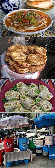 Kyrgyzstan (from the top): Lagman ~ Lepeshki (Tandir Bread) ~ Manti (Meat Dumplings): all of them are super!!❣