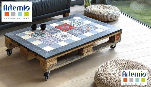 table basse avec effet carreaux de ciment artemio. Black Bedroom Furniture Sets. Home Design Ideas