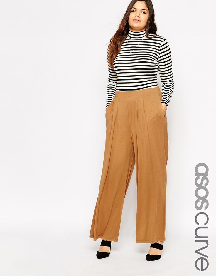 Immagine 1 di ASOS CURVE - Pantaloni con fondo ampio color cammello