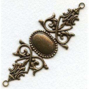 Gothic Bracelet Connector Base Oxidized Brass - VintageJewelrySupplies.com