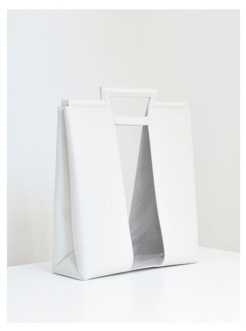 White sheer panelled bag, simplicity, chic minimal style