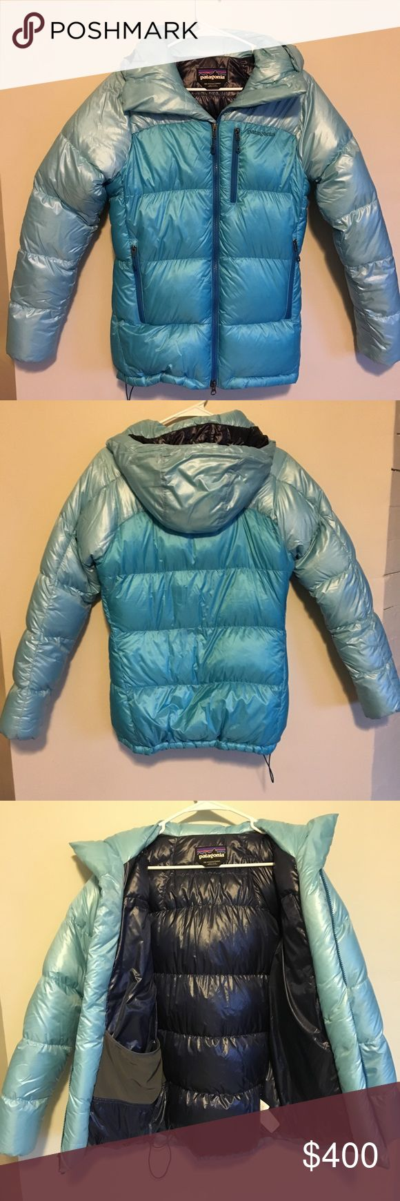 Blue Patagonia Parka This down jacket is absolutely essential in those cold winter months. It brings a bit of color to the season with the three different shades of blue included on the coat. All pockets have down insulation (including chest pocket). Alpine helmet- compatible. Barely worn Patagonia Jackets & Coats Puffers