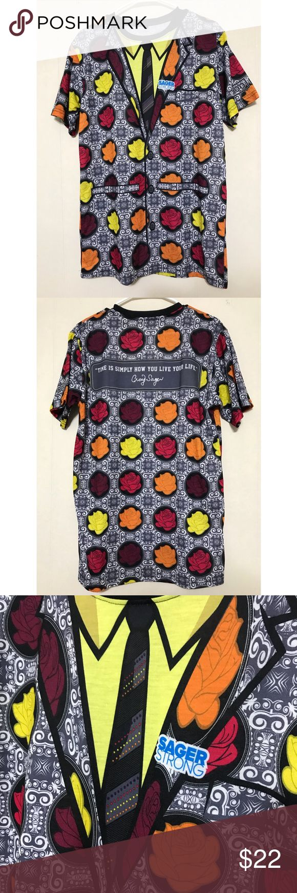 SagerStrong Tee Fun wild Print Tee just like Craig Sager! This awesome Tee was purchased from the Craig Sager Foundation to support leukemia patients and families and also research for other blood cancers.  Shirt is unisex and runs as slim fit as stated size chart. Fits more like a men's shirt. Sager Strong Shirts Tees - Short Sleeve