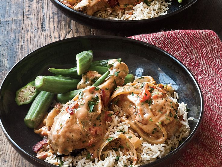 Chicken Smothered in Gravy | The Good News This satisfying riff on smothered pork chops calls for skinless chicken drumsticks, which have only slightly more fat than breasts, as w...