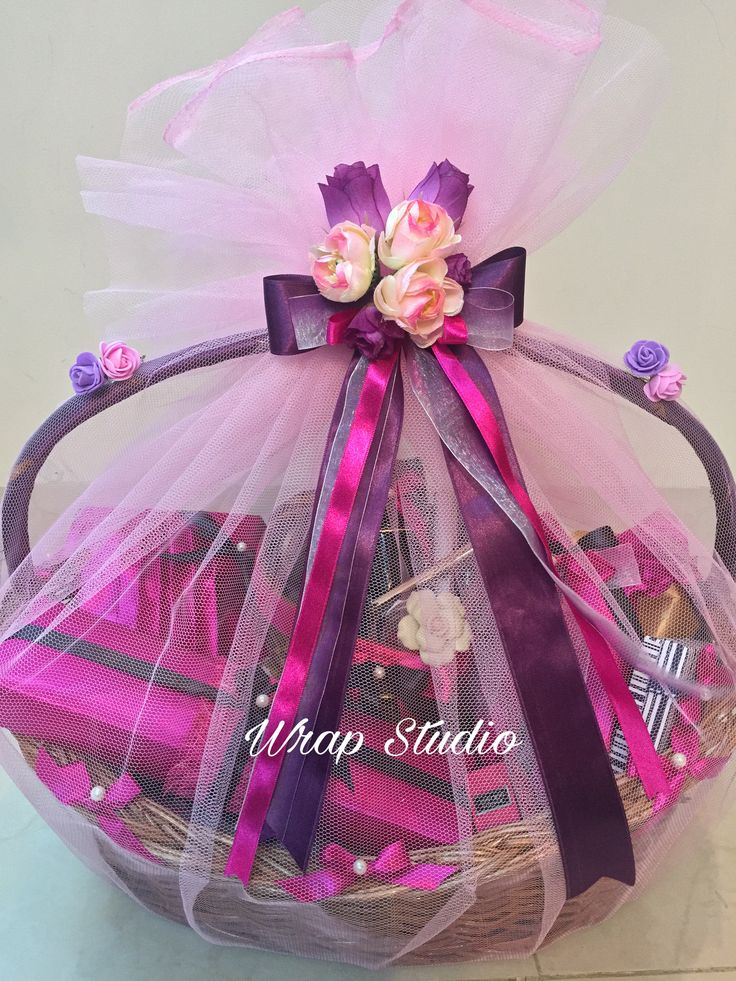 Beautiful hamper for a lovely young lady. Trousseau and gift packing, Customised hampers for all occasions by Wrap Studio https://m.facebook.com/wrapstudio.mumbai/ 9819896457