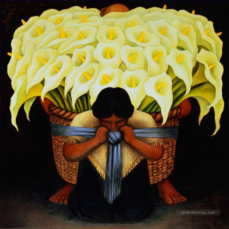 The Flower Seller Diego Rivera رسم زيتي