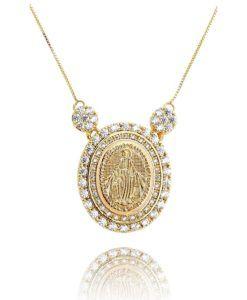 comprar colar religioso nossa senhora com banho de ouro e zirconias cristais semi joias online