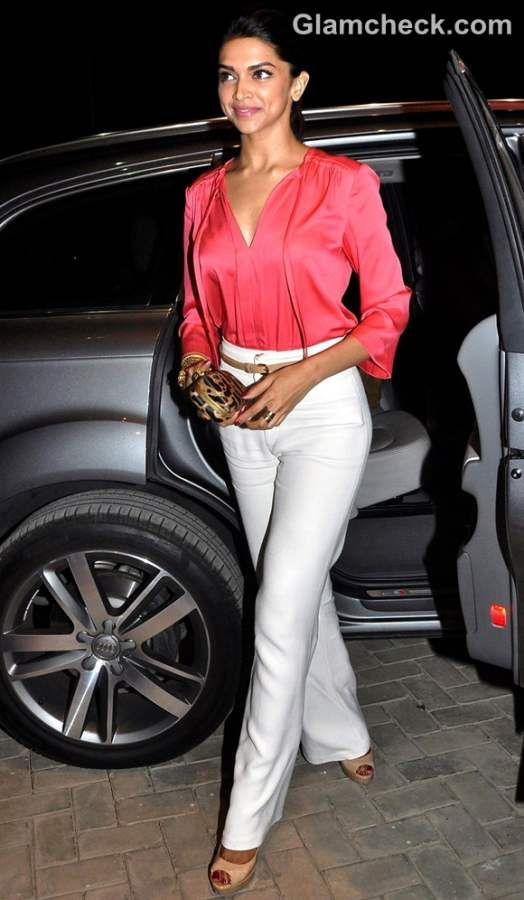 Deepika Padukone Stylish in high-waist tailored wide-leg pants