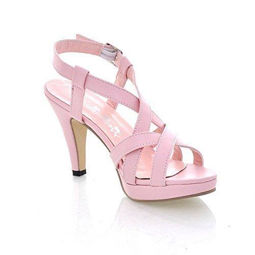 Oferta: 12.93€. Comprar Ofertas de Mine Tom Mujer Chicas Verano Sandalias De Tacón Alto Sandalias De Gladiador Correas Cruzadas Peep Toe Zapatos Rosa 40 barato. ¡Mira las ofertas!