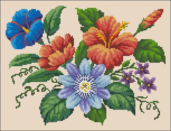 Bouquet with Passionflower & Hibiscus Floral vintage cross stitch pattern recharted from an original hand painted Berlin woolwork chart. Embroidery design for a pillow ( cushion ), bags, tablecloths, wall decor, cover on a chair or sofa. ★ A masterpiece with our own hands - just with