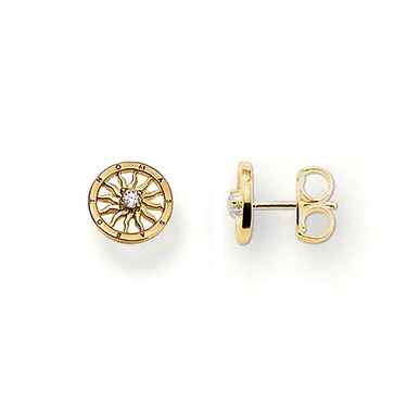 THOMAS SABO ear studs made from 925 Sterling Silver; 18K yellow gold plated with white syn. zirconia. The delicate ornaments in 750 yellow gold plate (18 carat) sparkle like little suns, particularly when the white syn. zirconia reflects in the sunlight (Size: 1.0 cm).