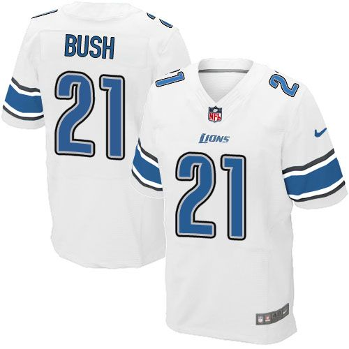 9910f3417 ... Elite Mens Nike Detroit Lions 21 Reggie Bush White NFL Jersey ...