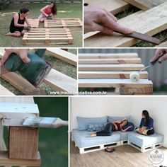 Como fazer um sofá de pallets - Dicas e passo a passo com fotos para fazer Sofá de palete -  marcenaria simples - Tutorial with pictures - How to make a pallet sofa - DIY - Madame Criativa - www.madamecriativa.com.br
