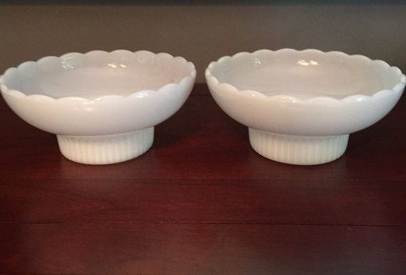 2 milkglass midcentury bowls. EO Brody. Gorgeous addition to your home. Make a statement