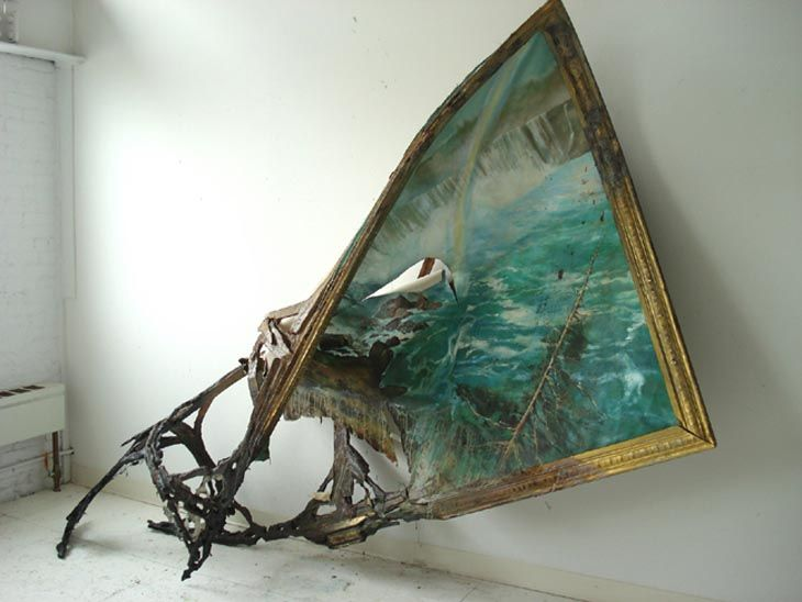 Valerie Hegarty, Niagara Falls, 2007, Foam core, paper, paint, gel medium, glue, 150 x 300 x 65 cm.