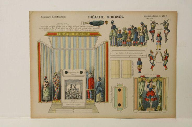 Pellerin Imagerie D'Epinal 1022 Moyennes vintage Construction Theatre Guignol #PellerinImagerieDEpinal