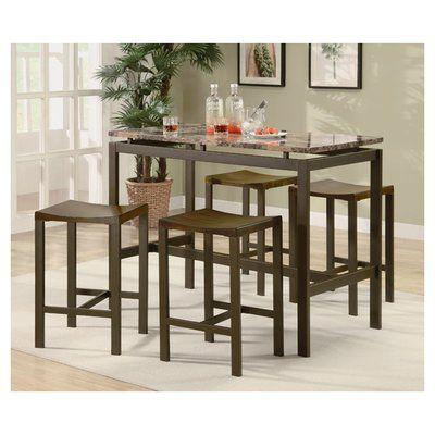 brayden studio swigart 5 piece counter height pub table set finish brown