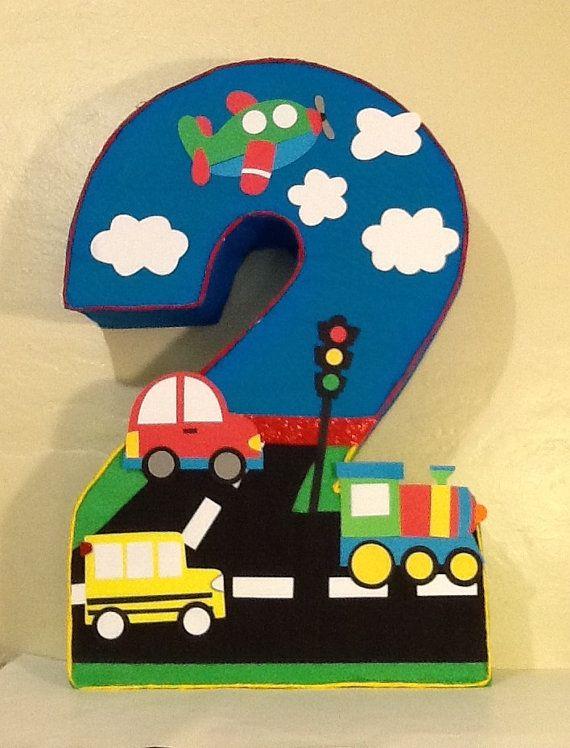 Transportation pinata. Transportation birthday party. Plane Pinata. Car Pinata. Number 2 Shape pinata