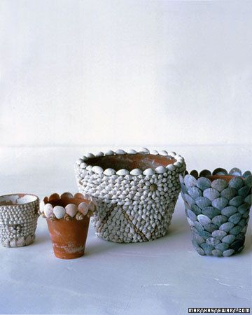 Shell Flowerpots - (snail shells, Atlantic cockles, quahogs, or black calico scallops). Use craft glue or hot glue to attach shells of uniform size. Start w/ a ring of shells at the top (shells should extend above the rim of the pot) & work downward, placing each successive row about halfway down the shells on the previous ring.