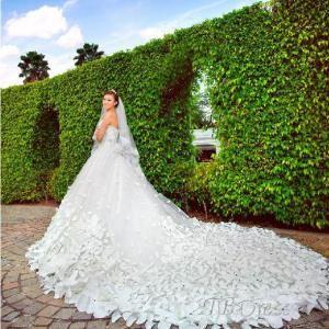 Robe de luxe A-ligne de sol longueur cathédrale perles de mariée en dentelle