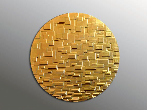 Circle Gold Leaf Wall Panel  Gold Wall Sculpture  3D Wall